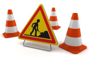 Signalisation de chantier sur fond blanc 1