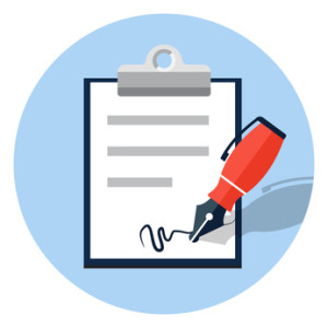 Vector signing contract icon